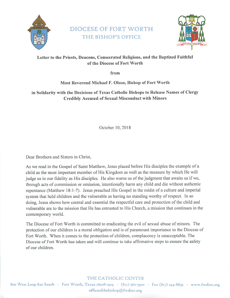Bishop Olson S Letter Regarding Release Of Accused Names